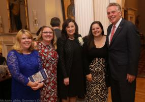Principal Karen Nelson with Perrymont staff and Governor McAuliffe at the Governor's Mansion