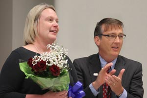 Dr. Brabrand with Heather McCormick at 2017 Teacher of the Year announcement