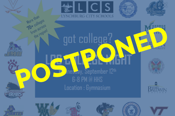 Postponed overlay on College Night announcement graphic