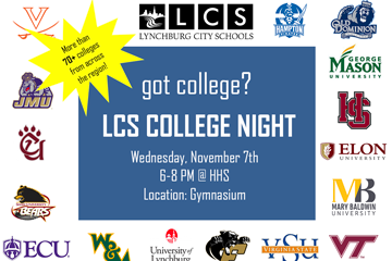 got college? LCS College Night graphic with college logos