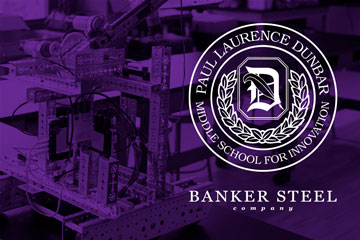 Dunbar Middle School and banker Steel logos over image of educational robot