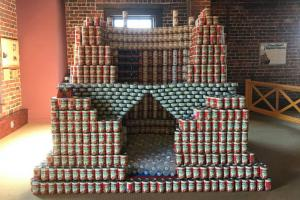 Hoover Dam replica made out of canned food
