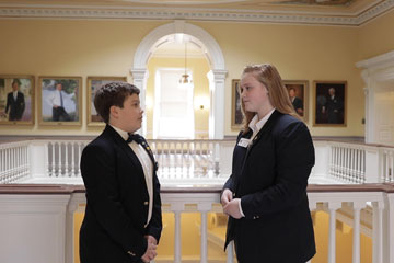 Two middle school students in State Capitol