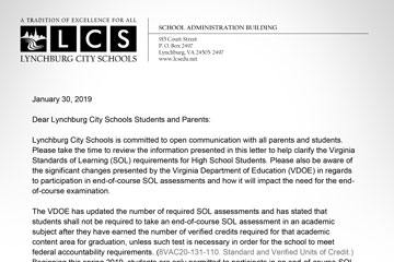 Closeup of LCS letter to parents