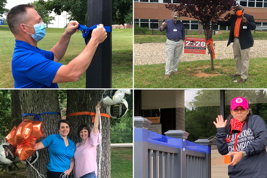 4 photos of LCS employees tying ribbons on trees for class of 2020