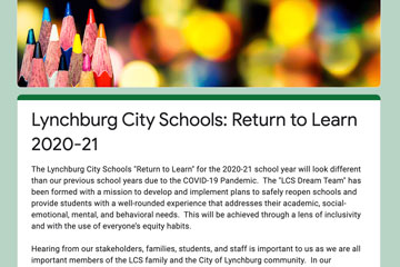 Lynchburg City Schools: Return to Learn 2020-21