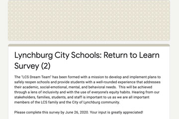 Lynchburg City Schools: Return to Learn Survey 2