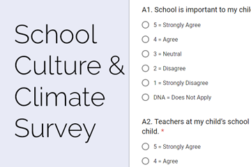 School Culture and Climate Survey with sample questions