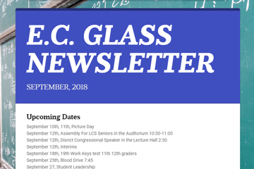 E. C. Glass Newsletter September 2018