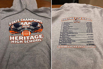 Shirt with State Champions AAA 2018 Heritage High School graphic on front and schedule on back
