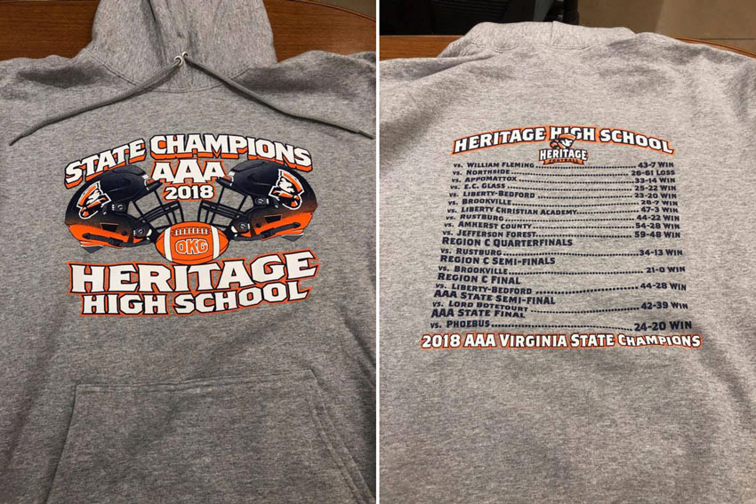 badd324f9c1b Shirt with State Champions AAA 2018 Heritage High School graphic on front  and schedule on back. Heritage has football state championship apparel ...