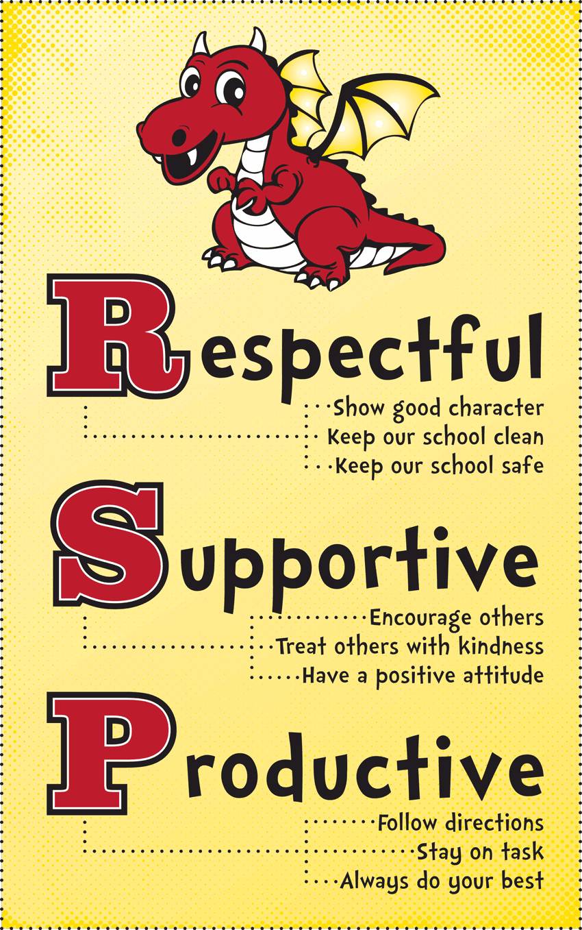 Respectful: Show good character, Keep our school clean, Keep our school safe; Supportive: Encourage others, Treat others with kindness, Have a positive attitude; Productive: Follow directions, Stay on task, Always do your best