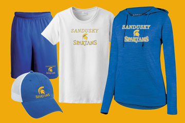 Sandusky Middle hat, shorts and shirts