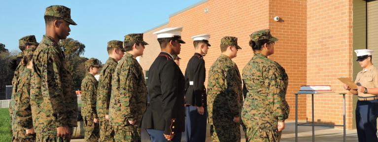 JROTC at attention for USMC event